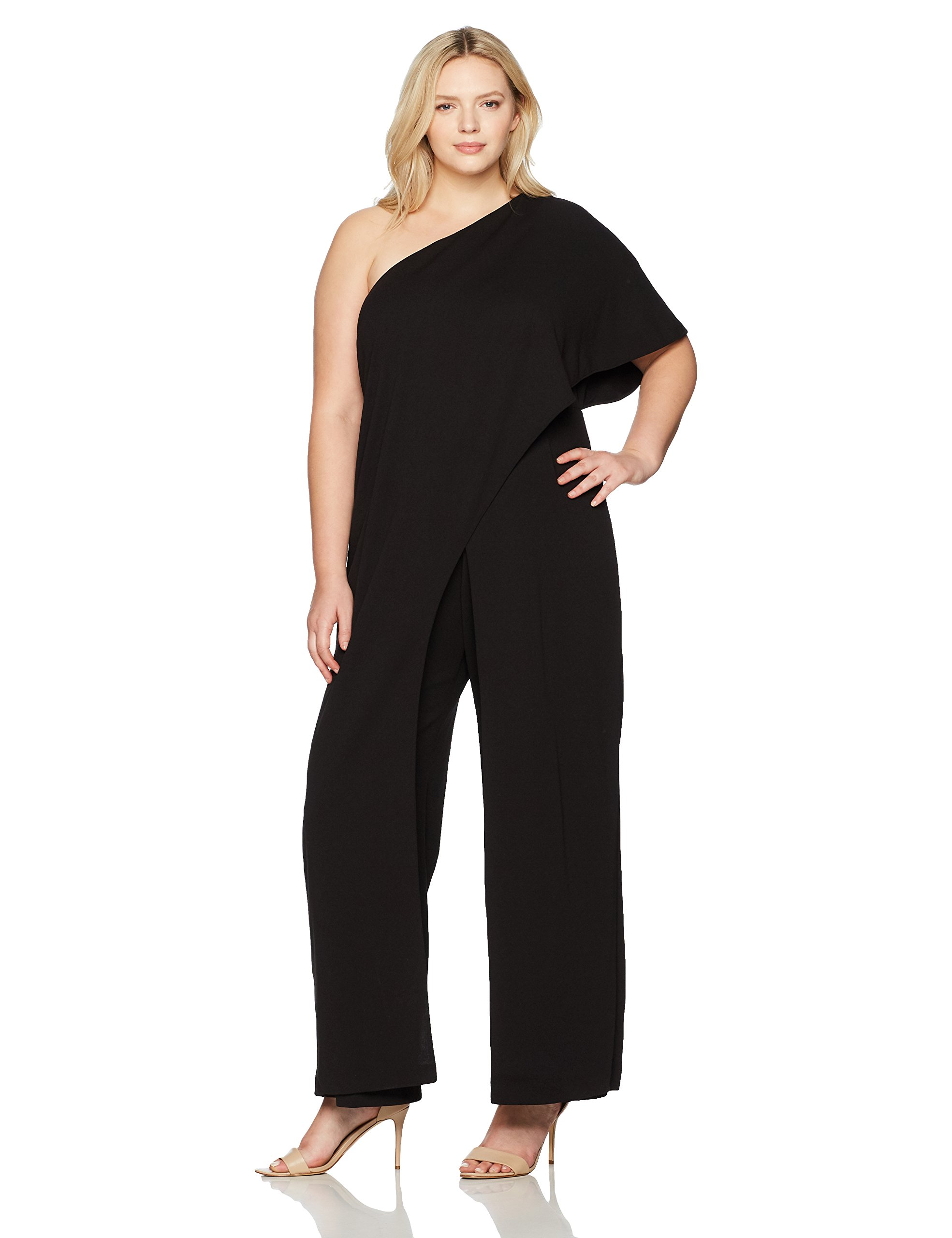 Adrianna Papell Women's Plus Size One Shoulder Crepe Melania Jumpsuit, Black, 16W by Adrianna Papell