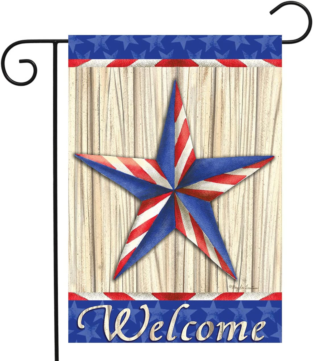 Briarwood Lane Patriotic Barnstar Primitive Garden Flag Welcome Red White and Blue 12.5