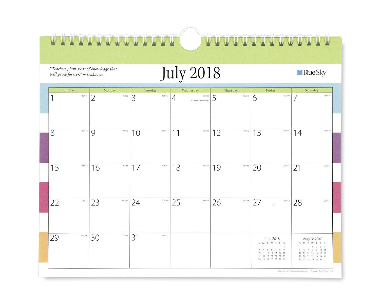 Blue Sky 2018-2019 Academic Year Monthly Wall Calendar, Twin Wire Binding, 11'' x 8.75'', Teacher Stripe by Blue Sky