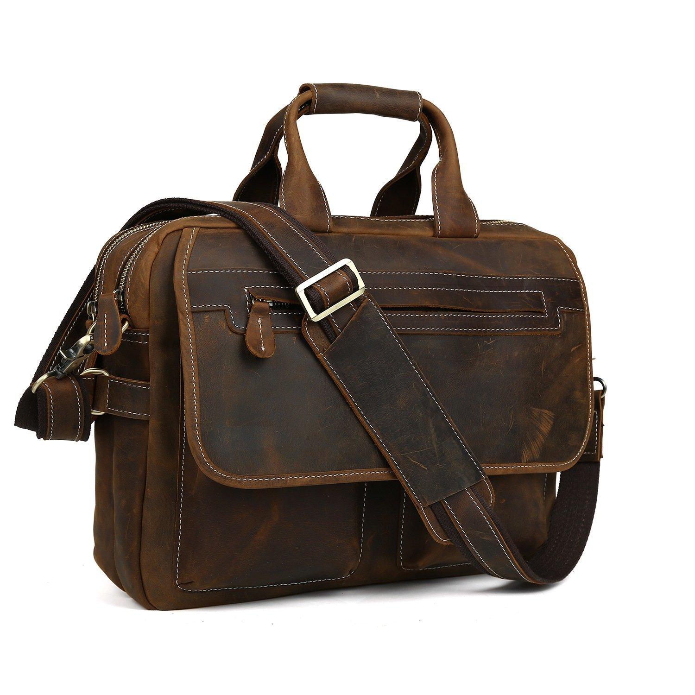 Mens Brown Crazy Horse Leather Briefcase 15.6'' Laptop Tote Shoulder Bag