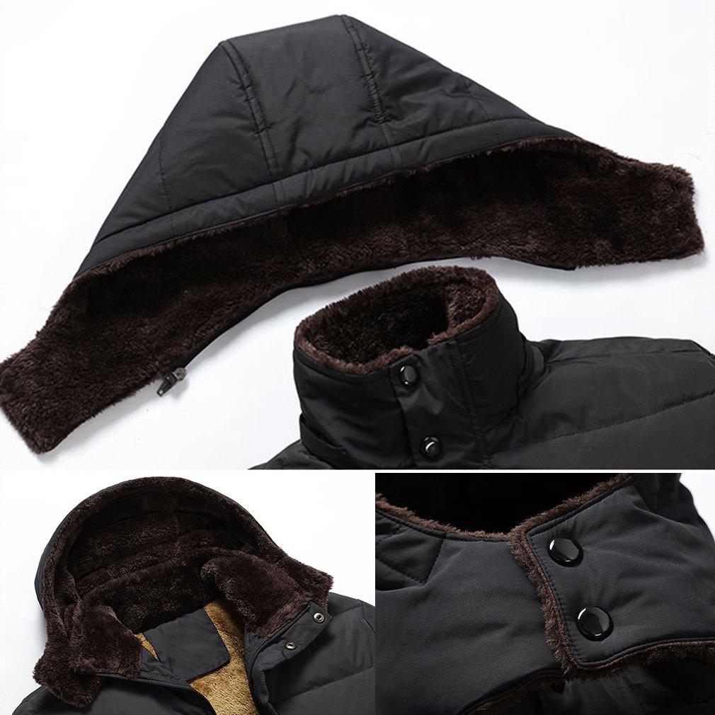 PHerMAN Men's Waterproof Fleece Ski Jacket Windproof Down Coat Puffer Jacket with Removable Hood (US XL/Tag 4XL, Black) by PHerMAN (Image #7)