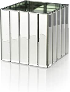 "Serene Spaces Living Gatsby Mirror Strip Cube Vase – Art Deco Inspired Glass Vase with Mirror Finish, Measures 4"" Cube"