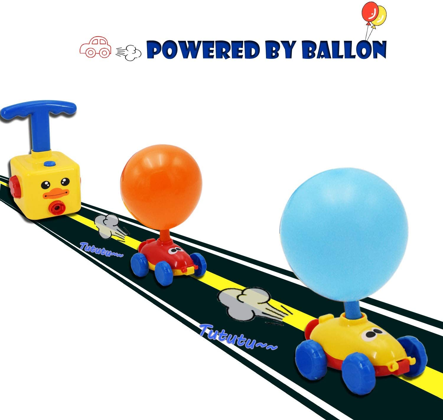 2Racers Cars 12Balloons Preschool Educational STEM Toys for Boys and Girls over 3+ Hedgbobo Balloon-Powered Car with a Manual Balloon Pump