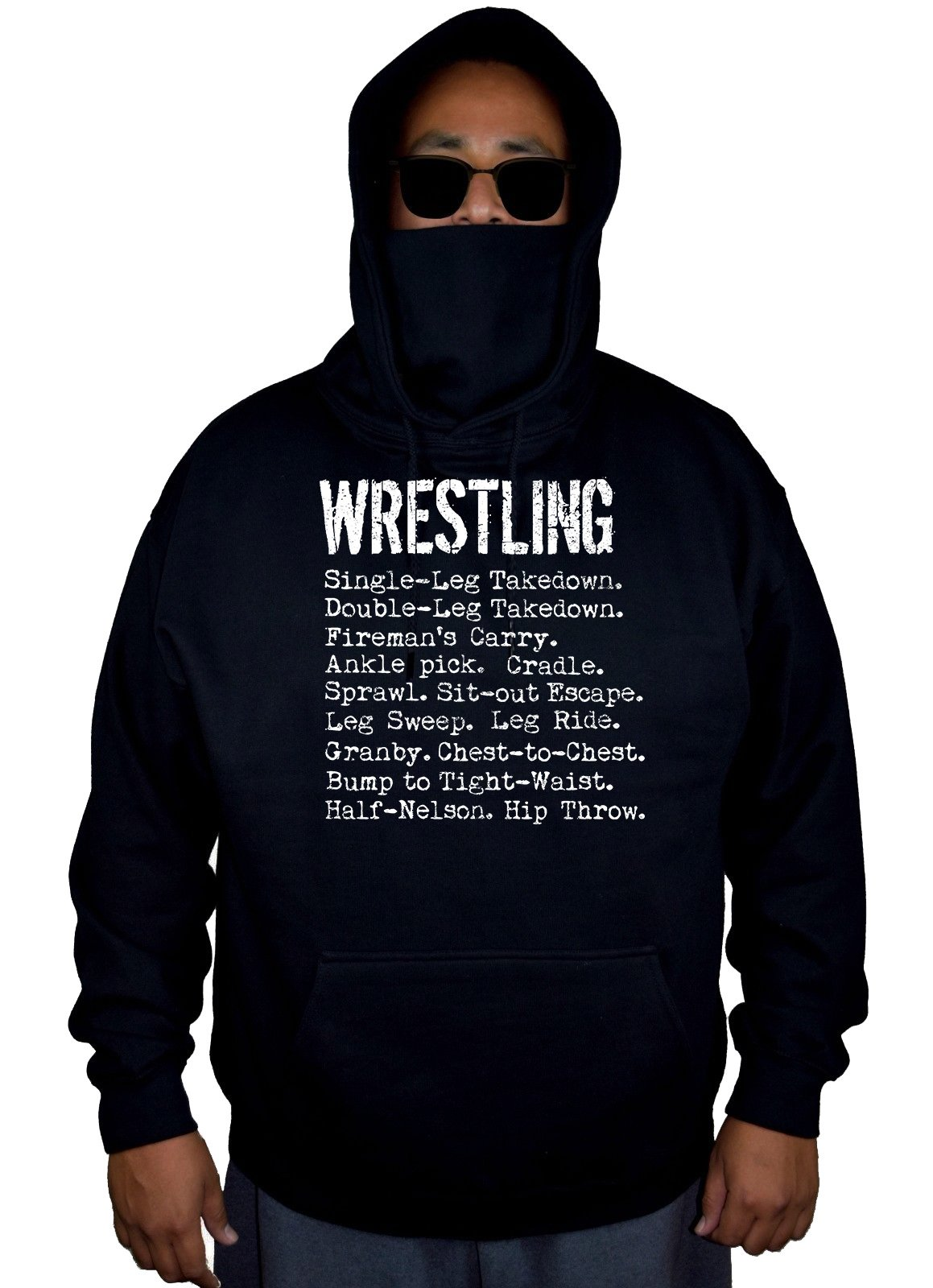 Men's Wrestling Moves Black Mask Hoodie Sweater 4X-Large