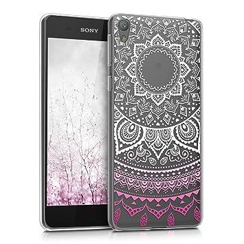 kwmobile Funda para Sony Xperia E5 - Carcasa de [TPU] para móvil y diseño de Sol hindú en [Rosa Fucsia/Blanco/Transparente]