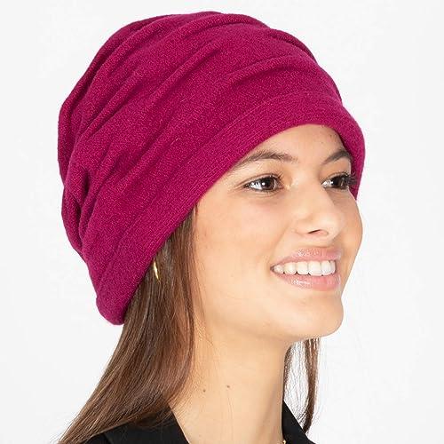 0322c1da21d Amazon.com  RACEU ATELIER Really Warm Raspberry Wool Beanie Boilled Wool  Retro 1920s Style Hat Adela - Retro Hats - Vintage Caps  Handmade