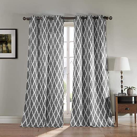 Blackout365 Kittattinny Heavy Geometric Blackout Window Curtain Set of 2 Panel