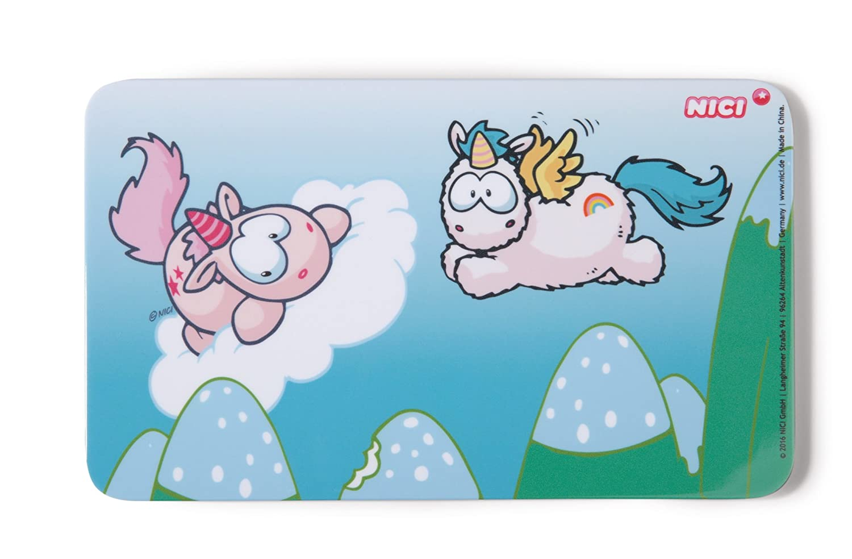 Purple Nici 42350/White Unicorn and friends Breakfast Board Theodor and Rainbow Flair 23.5/x 14.5/cm