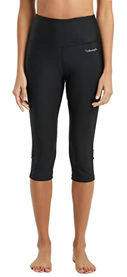a12131f35e57a Ubestyle UPF 50+ High Waist Women s Yoga Capri Leggings Swimming Tights Sun  Protective Black