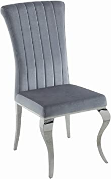 Amazon Com Benjara Metal Dining Chair With Cabriole Front Legs Set Of Four Gray And Chrome Chairs