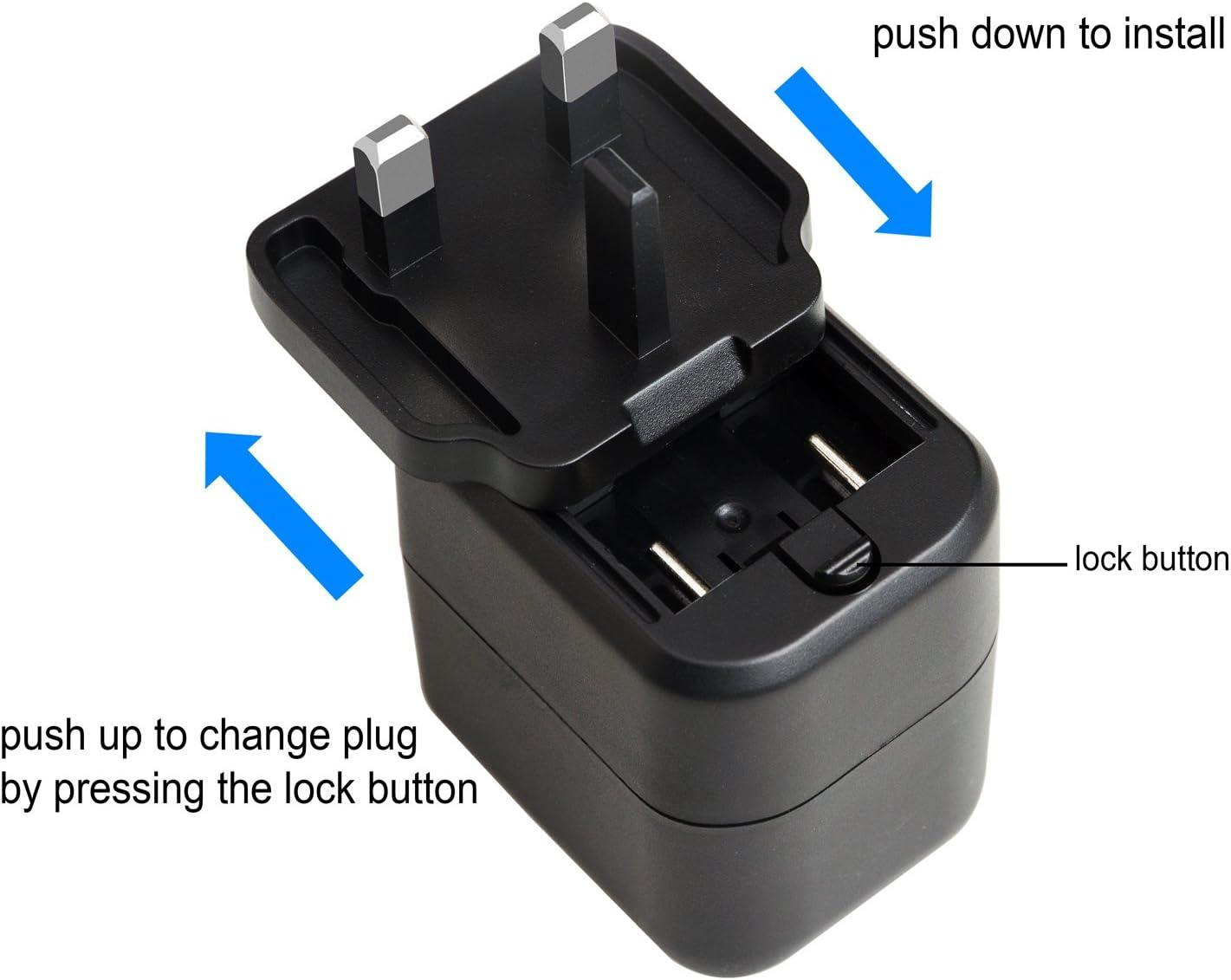 permutables 4 puertos USB cargador de pared cargador UE nosotros para viajes internacionales adaptador de enchufe Viajes para Apple iPhone iPad negro 24 W 4,8 A Lvsun Samsung y m/ás * 2.4A 2 * 4 o 1A