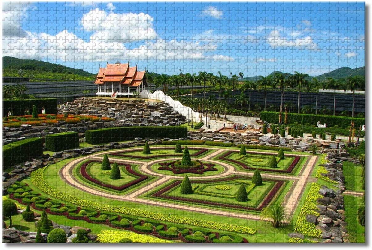 Thailand Nong Nooch Tropical Botanical Garden Pattaya Jigsaw Puzzles for Adults Kids 1000 Pieces Wooden Puzzle Game for Gifts Home Decoration Special Travel Souvenirs