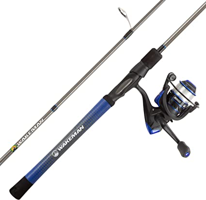Amazon Com Fishing Rod Reel Combo 6 6 Carbon Pole Spinning Reel Golf Grip Handle Bass Trout Lake Fish Channel Series By Wakeman Outdoors Blue Sports Outdoors
