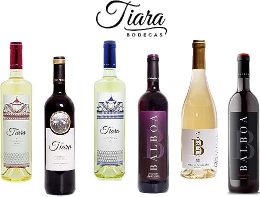 Pack 6 Botellas Vinos Blancos y Tintos de Bodegas Tiara. Vino de la Tierra de Extremadura. Producto 100% extremeño.: Amazon.es: Alimentación y bebidas