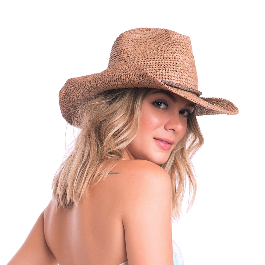 ale by Alessandra Women's Cassidy Raffia Cowboy Hat with Beaded Trim and Memory Wire Brim, Cocoa, One Size by ale by Alessandra (Image #3)