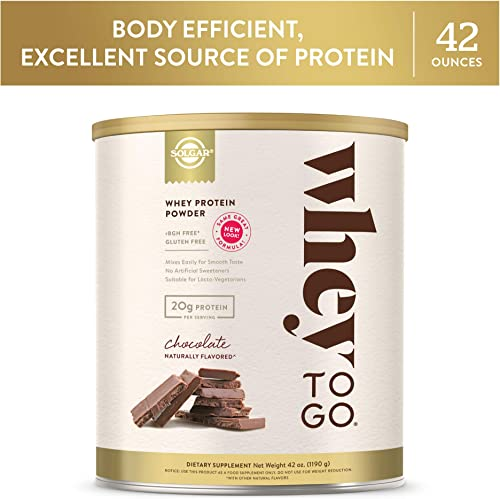 Whey To Go Protein Powder Natural Chocolate Cocoa Bean Flavor By Solgar – 41 oz