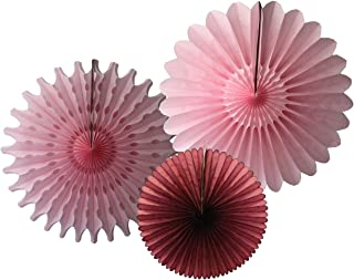 product image for Devra Party 3-Piece Tissue Paper Fans, Burgundy Blush Pink