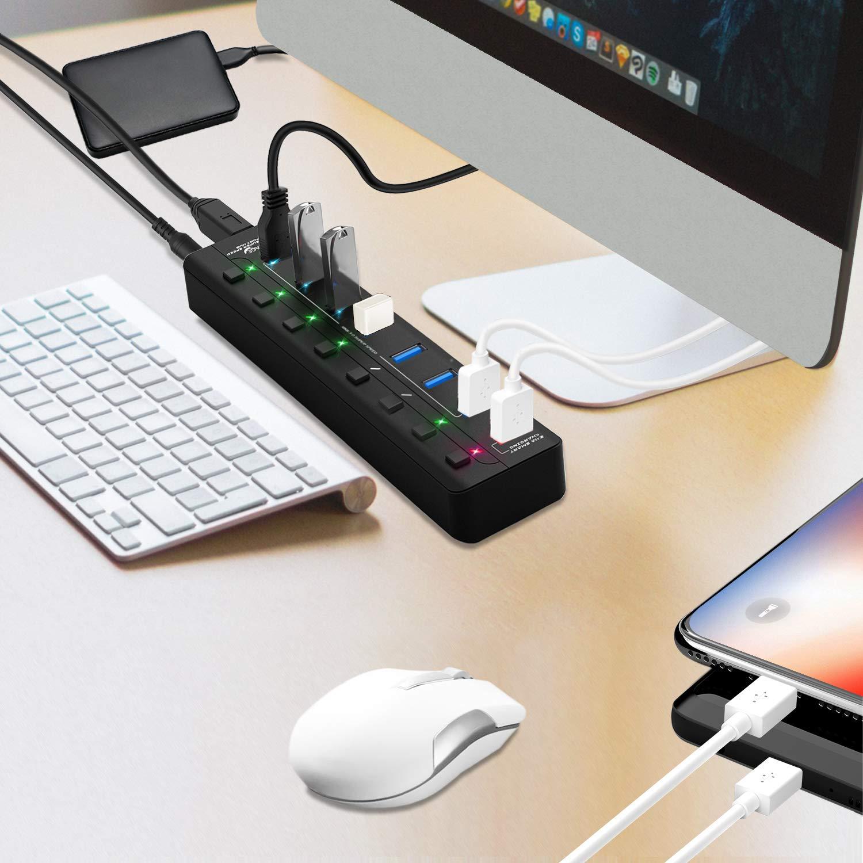 Amazon.com: APANAGE 8 Port Powered USB 3.0 Hub Splitter, 7 ...