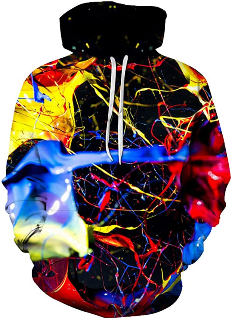 SWAG Hipster Men Splashed Paint 3D Colorful Printed Hoodies Sweatshirt Unisex Fashion Hooded