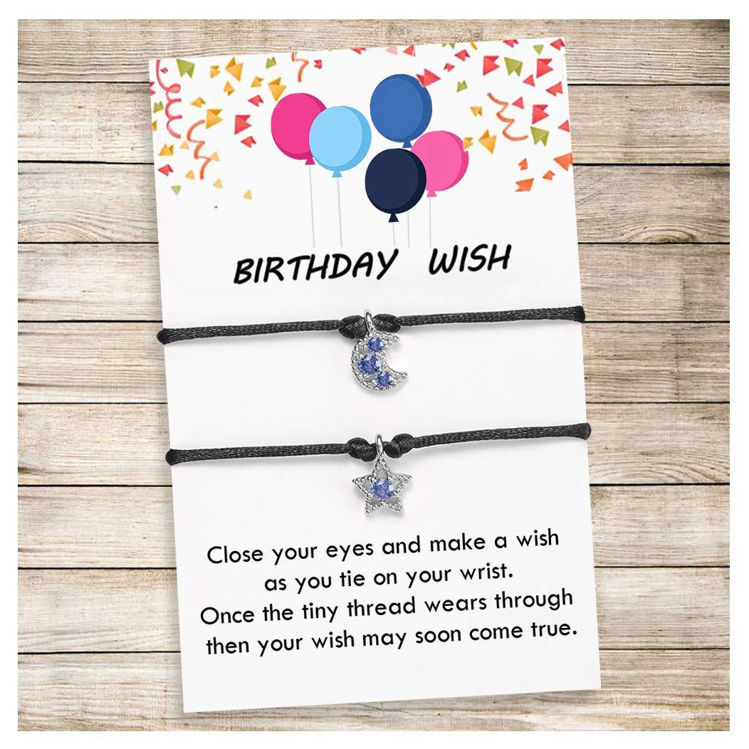 Tarsus Wish Lucky Bracelet Happy Birthday Gifts Friendship String Cord BFF Bracelets for Women Teen Girls Boys