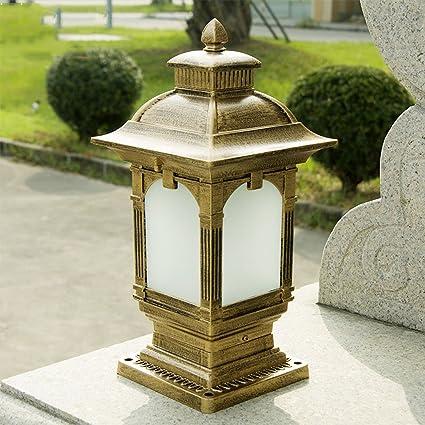 Vintage Aluminum Alloy Outdoor Pillar Light Column Lamp Retro E27 Patio  Fence Garden Lamp Patio Light