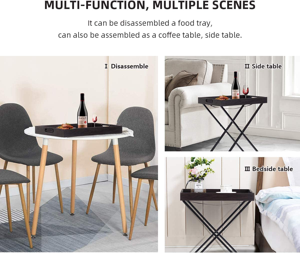 SEATZONE Multifunction Metal Base End Table Black Tray Table Home Decor Display and Home Accent Table