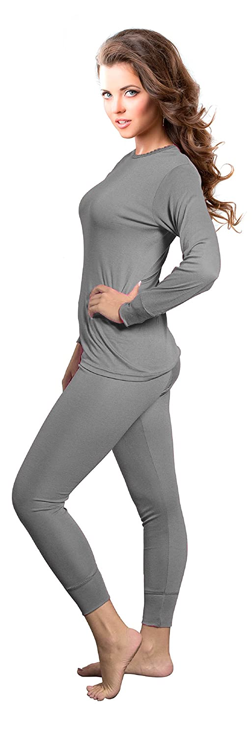 Rocky Womens Thermal 2 Pc Long John Underwear Set Top and Bottom Smooth Knit