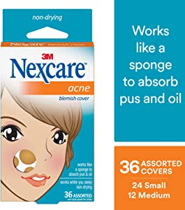 Nexcare Acne Cover, Hydrocolloid Technology, Use on Face or Body, 36 count