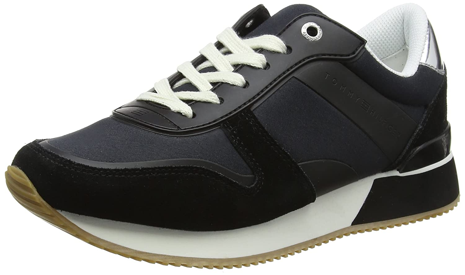 Tommy Hilfiger Mixed Material Lifestyle Sneaker, Zapatillas para Mujer 39 EU|Negro (Black 990)