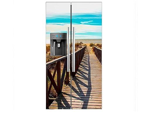Vinilo Frigorífico Americano Puente Madera Playa | 90X180cm ...