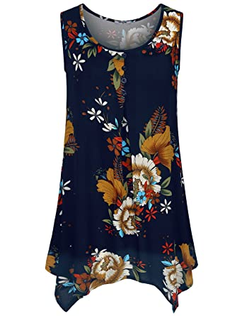 3132c0caa0cff2 Hibelle Women s Sleeveless Round Neck Layered Chiffon Flowy Blouse Top at  Amazon Women s Clothing store