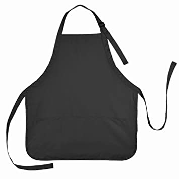 Apron Commercial Restaurant Home Bib Spun Poly Cotton Kitchen Aprons (3  Pockets) In Black