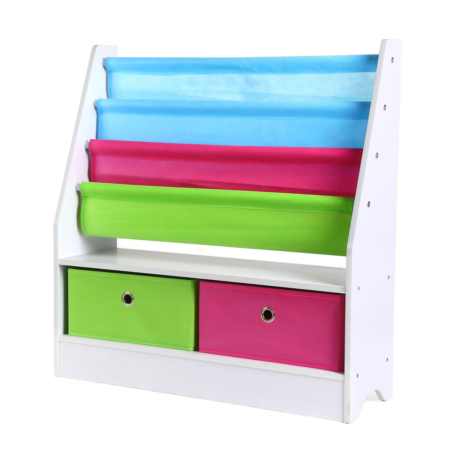 Homfa Kids Toy Storage Bookcase Unit with 3 Tier Bookshelf and 2 Non-Woven Drawers Boxes Multicolor HF