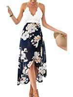Famulily Women's V-neck Lace Patchwork Irregular Hem Halter Floral Maxi Dress