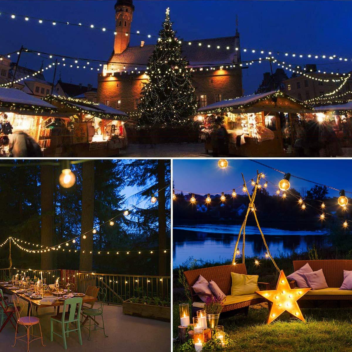 Cadena de bombillas exterior,VIFLYKOO Cadena de Luz Guirnaldas Luminosas de Exterior impermeables LED Bombillas Guirnalda Luces Exterior para Jard/ín Patio fiesta de bodas Navidad Blanco c/álido