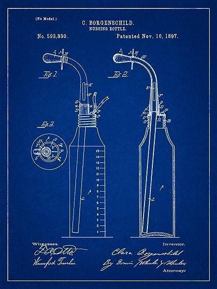 Amazon baby bottle 1897 patent blueprint style art print 8x10 baby bottle 1897 patent blueprint style art print 8x10 inch malvernweather Gallery