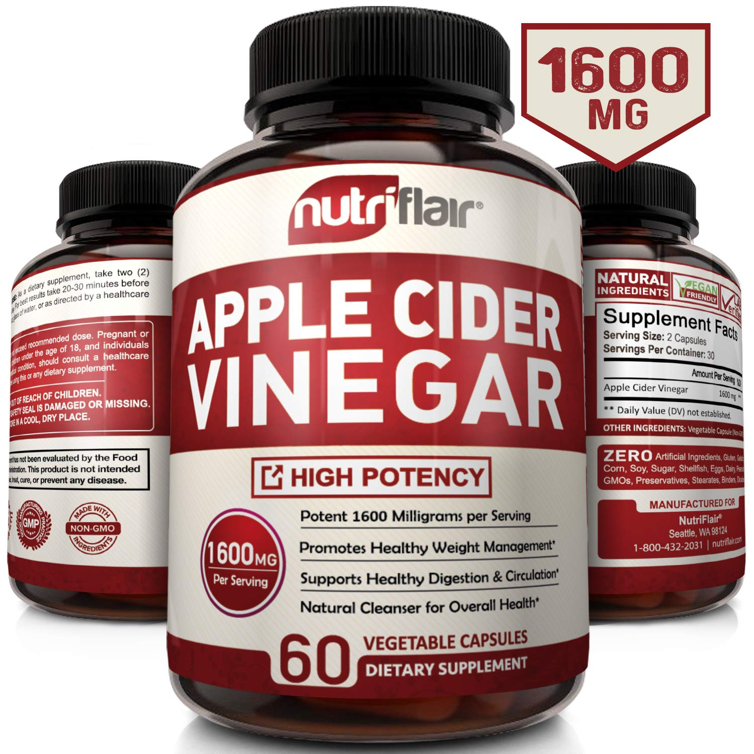 Apple Cider Vinegar Pills 1600MG - Powerful ACV Capsules for Natural Weight Loss, Detox, Digestion - Supports Healthy Blood Sugar & Immune System (60 Veggie Capsules)