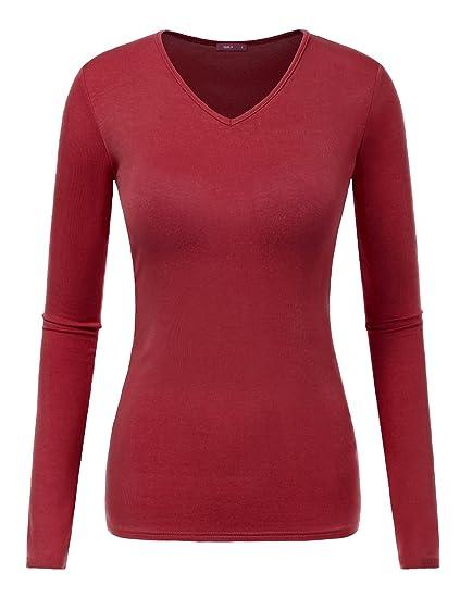 59701b3865f5ea Amazon.com  Doublju Women Long Sleeve V neck Slim Simple Basic T ...