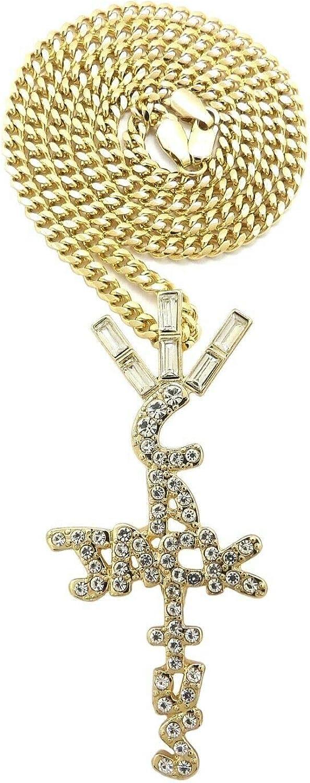 "BLINGFACTORY Hip Hop Iced Crystal Cactus Jack Cross Pendant & 3mm 24"" Miami Cuban Chain Necklace"