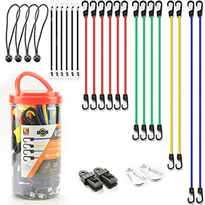 Wellmax Bungee Cords Hook Assortment Jar, 24 Piece Set with Canopy Ties Plastic Coated Metal Hooks: Automotive