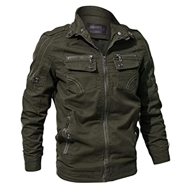 RockJay Men Military Army Jacket Spring Cargo Tactical Jacket Casual Autumn  Cotton Jackets Coat Army Green 6c849a6e1f7