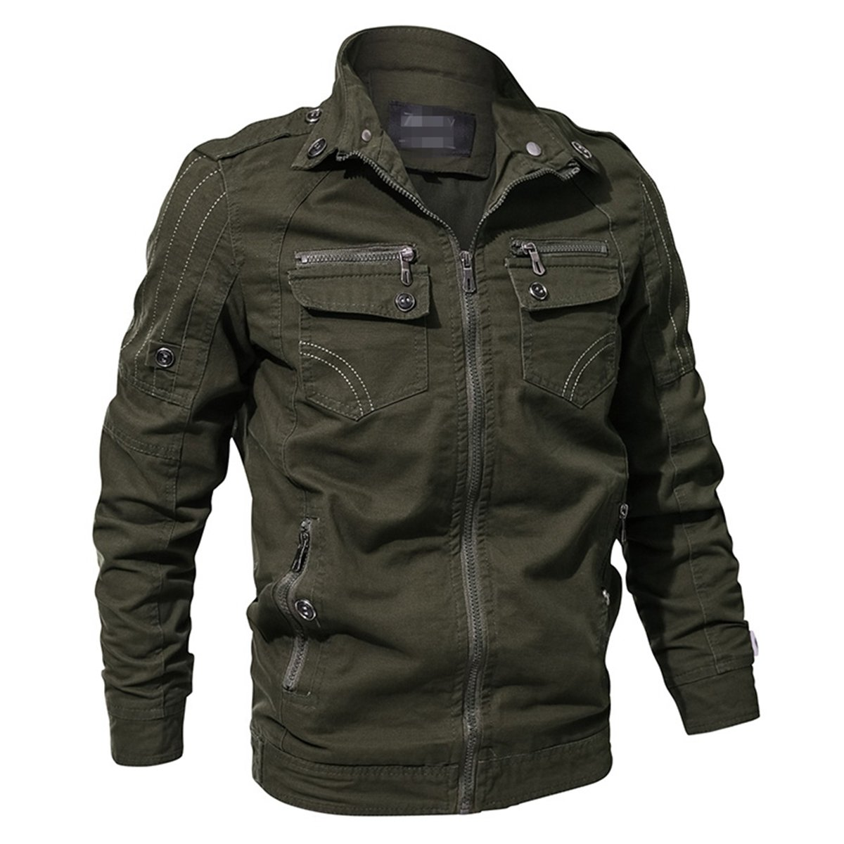 RockJay Men Military Army Jacket Spring Cargo Tactical Jacket Casual Autumn Cotton Jackets Coat Army Green 4XL