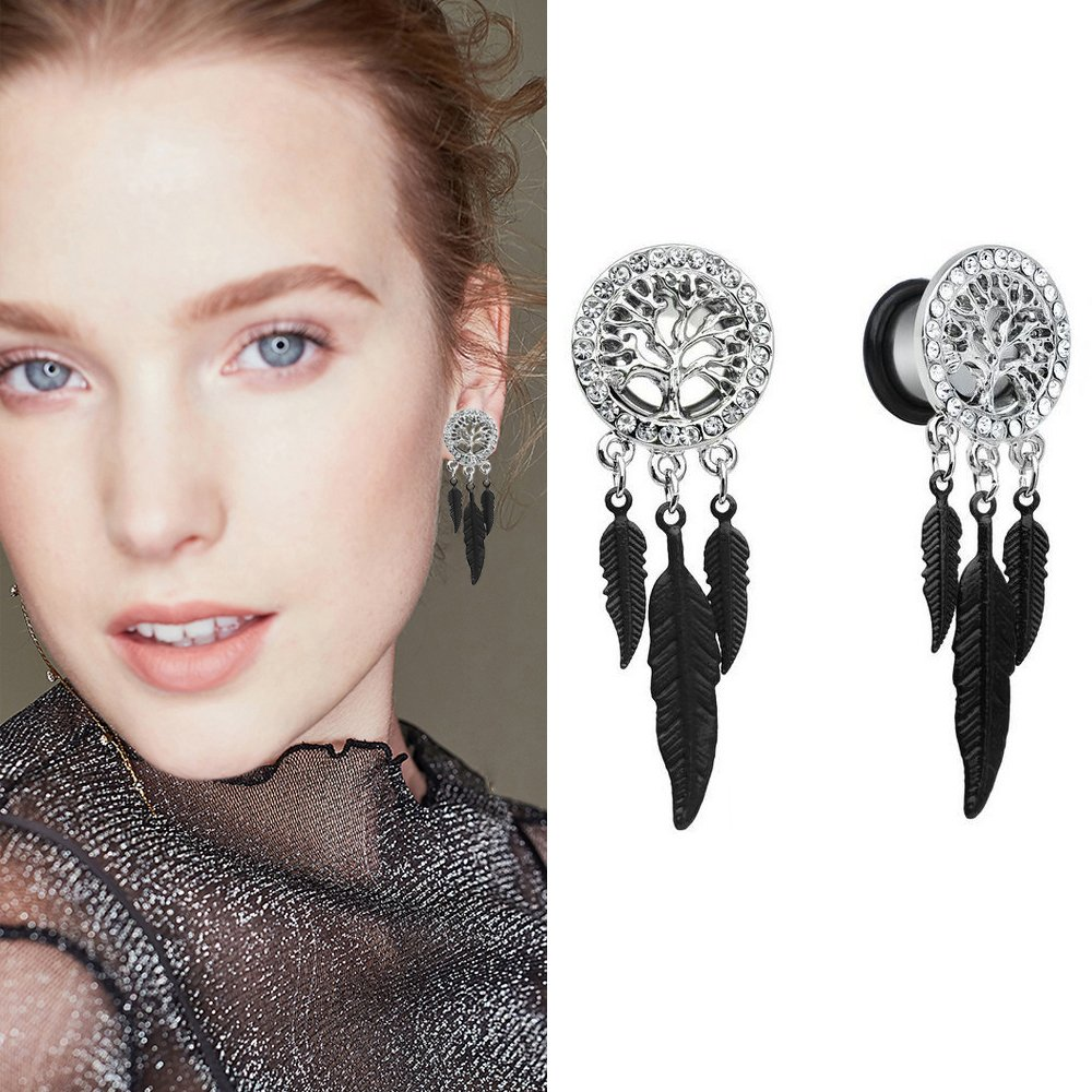 YIDULA Ear Gauges Dangle Plugs Tunnels for Ears Surgical Steel Tree of Life Feather Earring 9/16 (14mm)