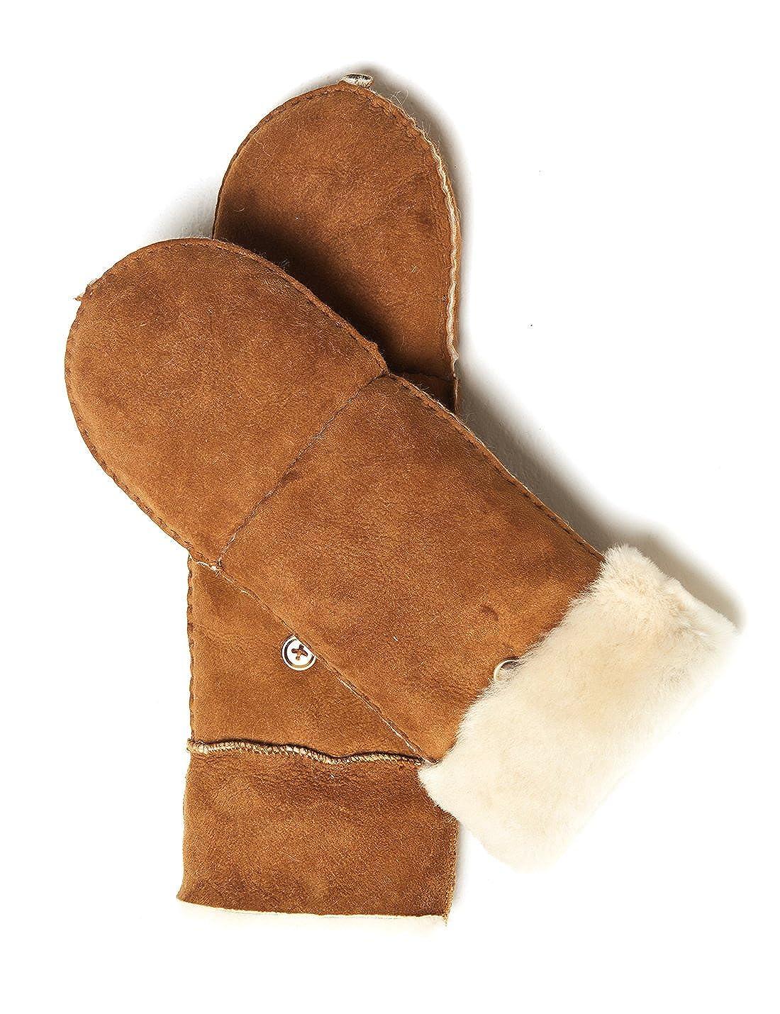 YISEVEN Damen Lammfell Leder Winterhandschuhe aus Shearling