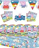 Peppa Pig, kit per festa di compleanno, tema Peppa Pig, per 8, 16, 24, 32 invitati, con striscione