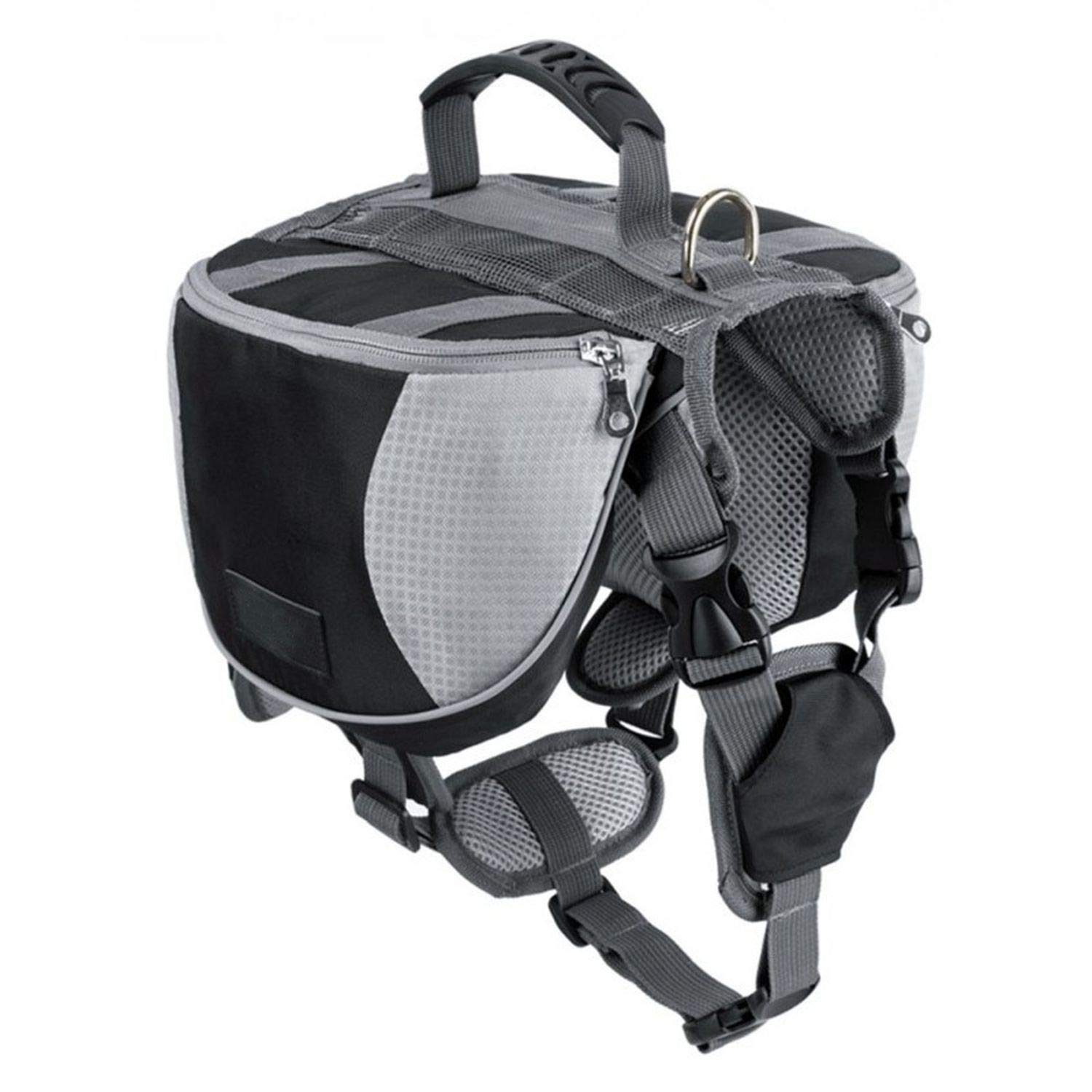 LIAOYLY Pet Outdoor Backpack Large Dog Reflective Adjustable Saddle Bag Harness Carrier Traveling Hiking Camping Safety,