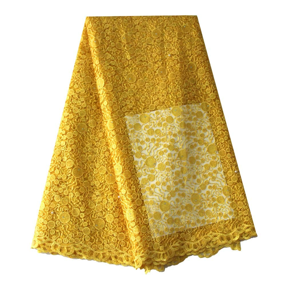 Latest African Lace Fabric Nigerian French Lace Net Fabric Embroidered Fabric for Wedding Party ZS736(Yellow)