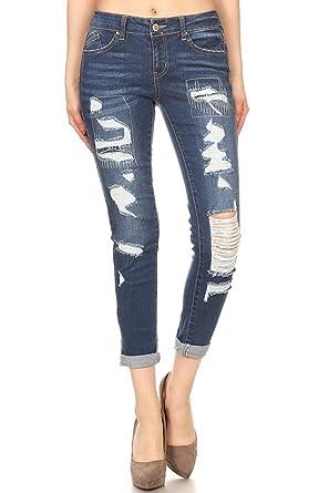 09dbd31a78b4 wax jean Women's Distressed Slim Fit Skinny Jeans Size 0 to 13 at ...