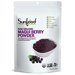 Sunfood Superfoods Maqui Berry Powder. 100% Raw Organic Freeze Dried Maqui Berry. 10x More Antioxidant Power Than Acai. Great in Juices & Smoothies. Non-GMO Highest Quality Ingredients. 8 oz Bag
