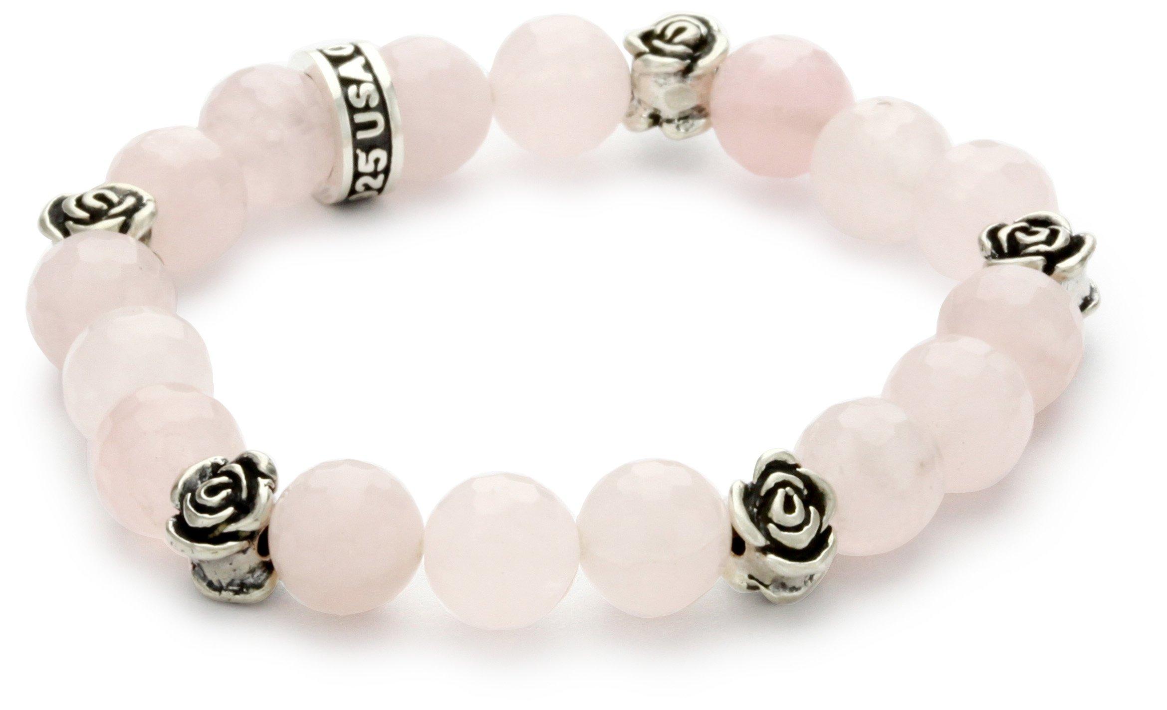 King Baby 10mm Rose Quartz Bead Bracelet with Roses